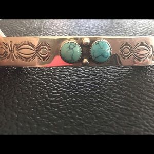 Turquoise and sterling silver barrette